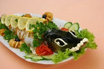 Семга фаршированная с овощным гарниром