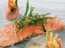 Запеченный лосось с одной стороны