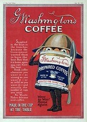 Вот так выглядела упаковка быстрорастворимого кофе Джорджа Вашингтона