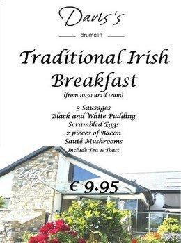 Вывеска, рекламирующая традиционный ирландский завтрак