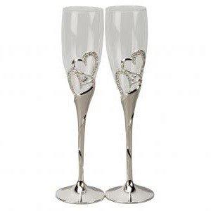 Свадебные бокалы с ножкой из металла