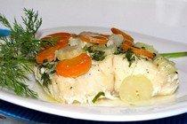 Фоторецепт приготовления запеченного палтуса с овощами