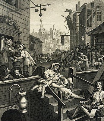 Картина «Улица джина», написанная в 1751 У. Хогартом