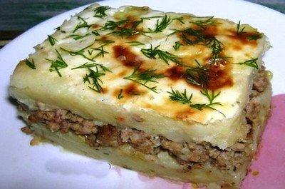 Ингредиенты для приготовления запеканка с грибами и картофельным пюре