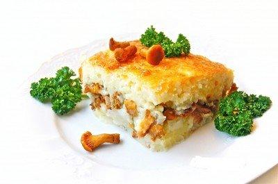 Рецепт запеканки с грибами и картофельным пюре