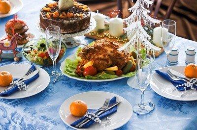 Новогодний стол на год Козы 2015 должен быть в синих тонах