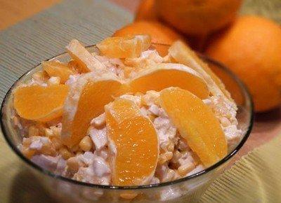 Рецепт салата из курицы и апельсинов