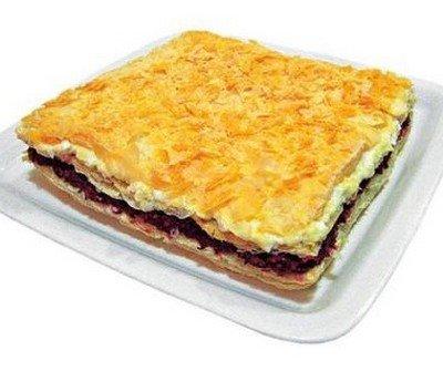 Рецепт приготовления торта-закуски «Соленый Наполеон»